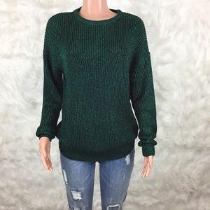American Apparel Green Metallic Fishermans Sweater